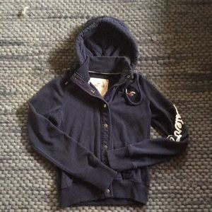 Hollister blue button up hoodie size M